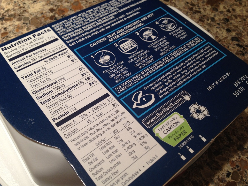 Barilla Microwaveable Meals - My