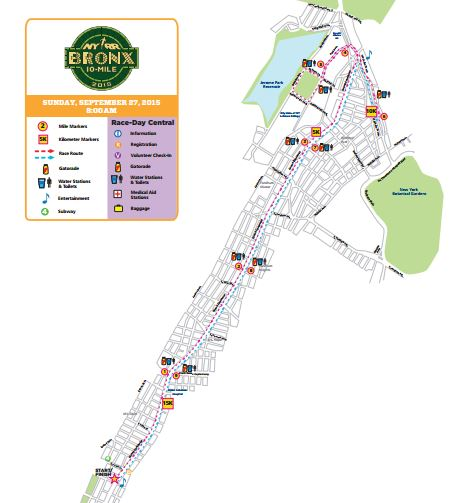 bronx 10 mile course map