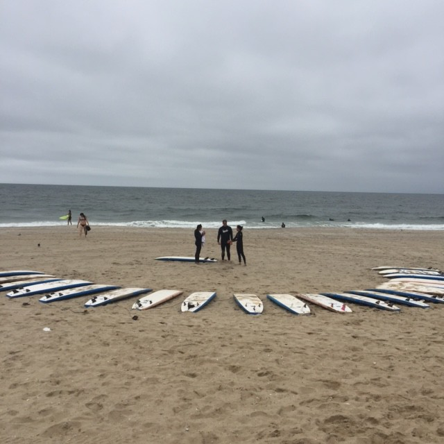 Surfing on Rockaway Beach